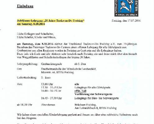 Einladung 20 Jahre TKD Freising